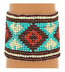Brown Multi Seed Bead Aztec Bracelet #JB4840-BRM