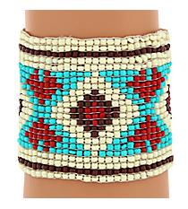 Ivory Multi Seed Bead Aztec Bracelet #JB4840-IVM