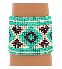Turquoise Multi Seed Bead Aztec Bracelet #JB840-TQM