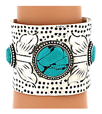 Burnished Silvertone and Turquoise Embellished Cuff Bracelet #JB4856-ASTQ
