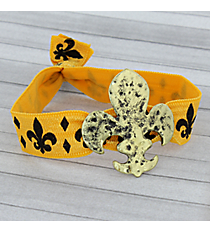 Gold and Black Goldtone Fleur De Lis Ribbon Stretch Bracelet/Hair Tie #JB4886-GBGL