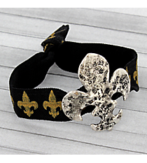 Black and Gold Silvertone Fleur De Lis Ribbon Stretch Bracelet/Hair Tie #JB4886-SBBK