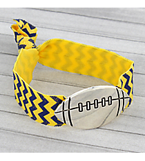 Navy Blue and Yellow Chevron Football Ribbon Stretch Bracelet/Hair Tie #JB4891-ASBY