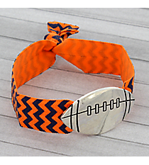 Navy Blue and Orange Chevron Football Ribbon Stretch Bracelet/Hair Tie #JB4891-ASOB