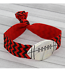 Red and Black Chevron Football Ribbon Stretch Bracelet/Hair Tie #JB4891-ASRB