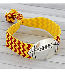 Red and Gold Chevron Football Ribbon Stretch Bracelet/Hair Tie #JB4891-ASRG