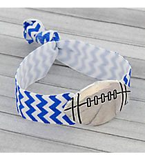 Royal Blue and White Chevron Football Ribbon Stretch Bracelet/Hair Tie #JB4891-ASWB