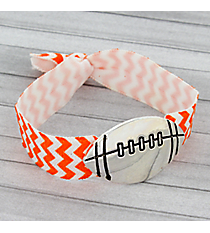 Orange and White Chevron Football Ribbon Stretch Bracelet/Hair Tie #JB4891-ASWO