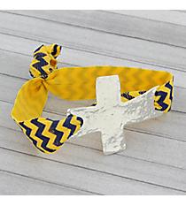 Navy Blue and Yellow Chevron Cross Ribbon Stretch Bracelet/Hair Tie #JB4895-SBY
