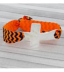 Navy Blue and Orange Chevron Cross Ribbon Stretch Bracelet/Hair Tie #JB4895-SOB