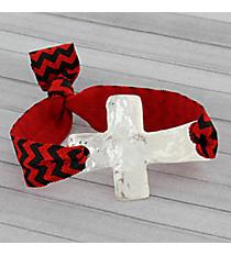 Red and Black Chevron Cross Ribbon Stretch Bracelet/Hair Tie #JB4895-SRB