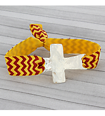 Red and Gold Chevron Cross Ribbon Stretch Bracelet/Hair Tie #JB4895-SRG