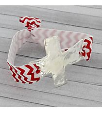 Red and White Chevron Cross Ribbon Stretch Bracelet/Hair Tie #JB4895-SRW