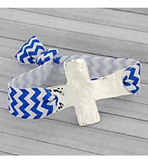 Royal Blue & White Chevron Cross Ribbon Stretch Bracelet/Hair Tie #JB4895-SWB