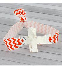Orange and White Chevron Cross Ribbon Stretch Bracelet/Hair Tie #JB4895-SWO