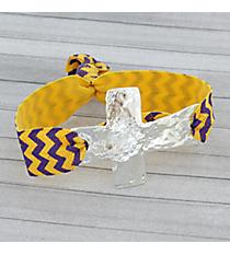Purple and Gold Chevron Cross Ribbon Stretch Bracelet/Hair Tie #JB4895-SYP