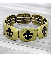 Black and Burnished Brass Fleur De Lis Stretch Bracelet #JB4965-BB