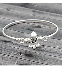 Fleur De Lis Silvertone Hook Bracelet #JB4970-AS