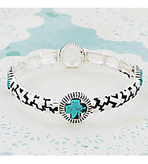 Turquoise and Silvertone Cross Stretch Bracelet #JB4977-ASTQ