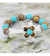 Brown and Turquoise Beaded Silvertone Cross Stretch Bracelet #JB4988-ASTQBR