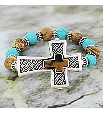 Textured Silvertone Cross Brown and Turquoise Beaded Stretch Bracelet #JB4989-ASTQBR