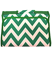 Green Chevron Small Roll Up Jewelry Bag #J-601-G