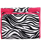 Zebra with Pink Trim Small Roll Up Jewelry Bag #CB50-2006-P