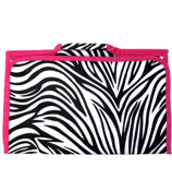 Zebra with Pink Trim Large Roll Up Jewelry Bag #CJ-2006-P
