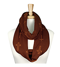 Brown with Orange Cross Infinity Scarf #JF0001-BR