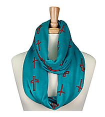 Turquoise with Orange Cross Infinity Scarf #JF0001-TQ