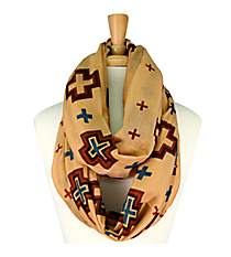 Tan with Multi-Color Cross Infinity Scarf #JF0002-BR