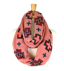 Mauve with Multi-Color Cross Infinity Scarf #JF0002-PK