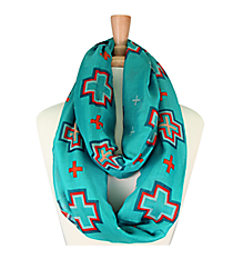 Turquoise with Multi-Color Cross Infinity Scarf #JF0002-TQ