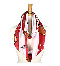 Red and White Football Field Infinity Scarf #JF0034-RDWT
