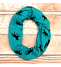 Turquoise and Black Horse Print Infinity Scarf #JF0004-TQ