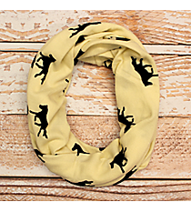 Ivory and Black Horse Print Infinity Scarf #JF0004-IV