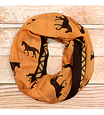 Brown and Orange Horse Print Infinity Scarf #JF0005-BR
