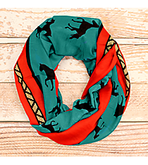 Turquoise, Black, and Red Horse Print Infinity Scarf #JF0005-TQ