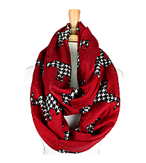 White with Red Elephants Infinity Scarf #JF0006-WT