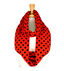 Red with Black Polka Dots Infinity Scarf #JF0015-RD