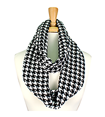 Black and White Houndstooth Infinity Scarf #JF0021-WB
