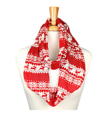 Red and White Christmas Infinity Scarf #JF0022-RD