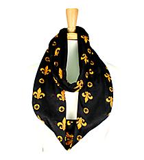 Black and Gold Fleur de Lis Infinity Scarf #JF0029-BK