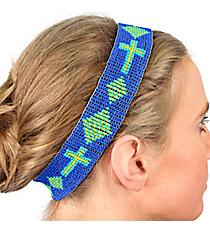 Blue, Lemon, and Turquoise Cross Seed Bead Headband #JH0022-BLM