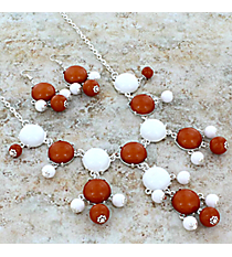"19"" Burnt Orange and White Bubble Necklace and Earring Set  #JS4985-SWO"