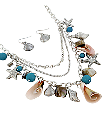 """17"""" Layered Silvertone and Turquoise Sea Life Charm Necklace and Earring Set #JS5115-ASTQ"""