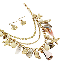 """17"""" Layered Goldtone and Ivory Sea Life Charm Necklace and Earring Set #JS5115-GIV"""