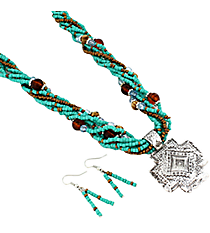 "18"" Multi-Strand Turquoise Western Cross Necklace and Earring Set #JS5339-ASTQ"