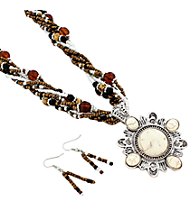 "18"" Multi-Strand Western Ivory Stone Pendant Necklace and Earring Set #JS5342-ASBR"