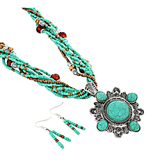 "18"" Multi-Strand Western Turquoise Stone Pendant Necklace and Earring Set #JS5342-ASTQ"